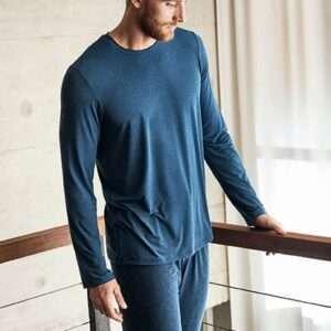 Schiesser pyjama ronde hals donkerblauw