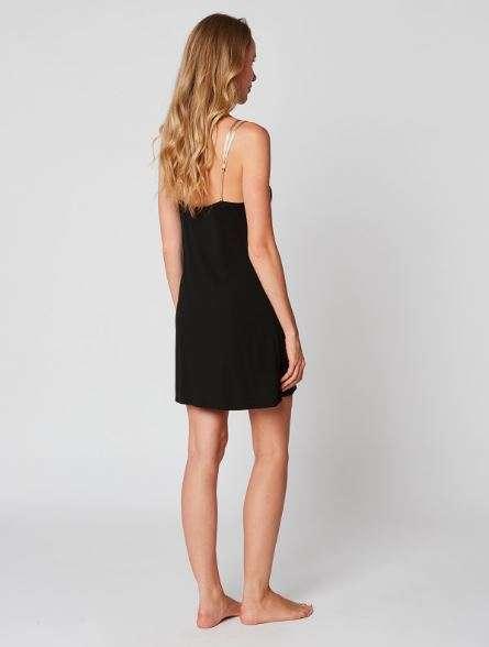 Slaapkleedje zwart met goudkleurige schouderbandjes