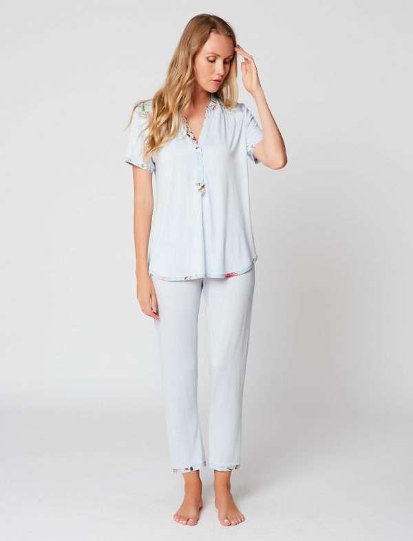 Le Chat pyjama lichtblauw (3/4 broek)
