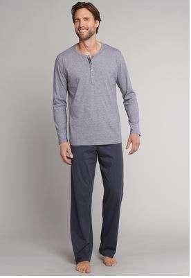 Heren pyjama met knopjes antraciet