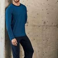 Heren pyjama ronde hals donkergroen/blauwe strepen