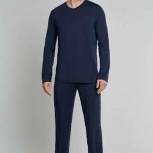 Heren pyjama donkerblauw V-hals