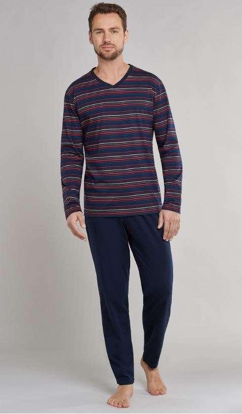 Heren pyjama V-hals donkerblauw