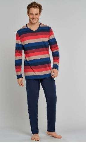 Heren pyjama V-hals rood/oranje/blauwe strepen