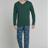 Heren pyjama V-hals donkergroen