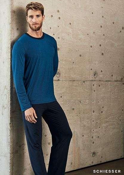 Heren pyjama ronde hals blauw