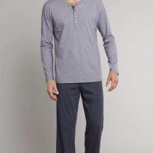 Heren pyjama knopjes donkerblauw