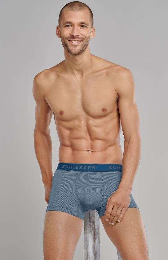 Heren boxershort lichtgroen/beige strepen